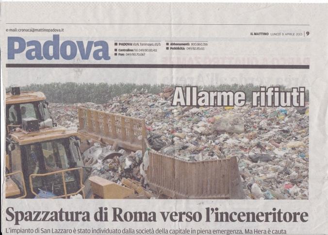 Padova emergenza rifiuti